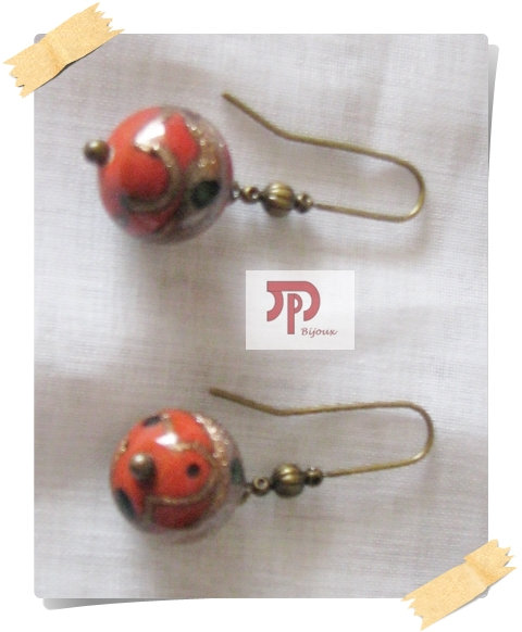 Boucles d'oreilles perles oranges