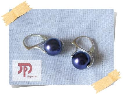 Boucles d'oreilles perles violettes