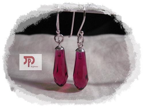 Boucles d'oreilles Cristal Swarovski ruby