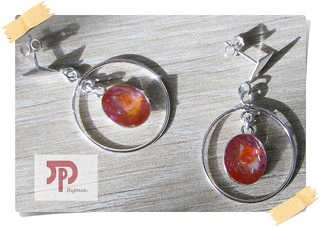 Clous d'oreilles Cristal Swarovski orange