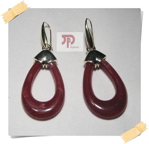 Crochets d'oreilles pendentifs gouttes rouges