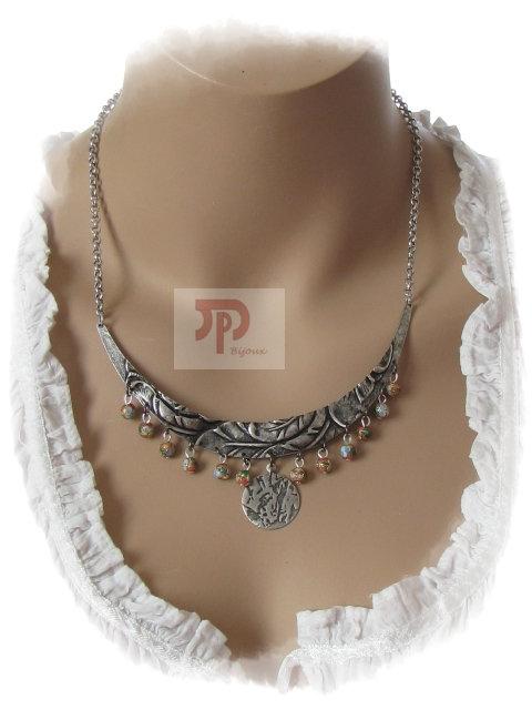 Collier métal et perles en cloisonné