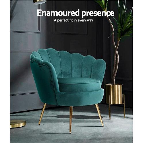 Green ArtissRetro Lounge ArmchairVelvet Shell