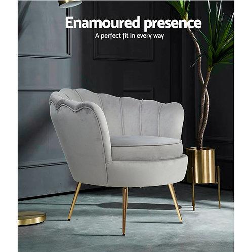 Grey Artiss Retro Lounge Armchair Velvet Shell