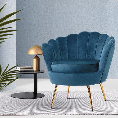 Navy Artiss Retro Lounge Armchair Velvet Shell