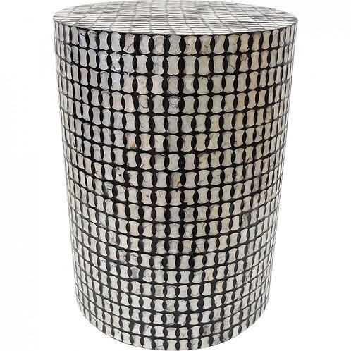 Black & Cream Capiz Stool/table
