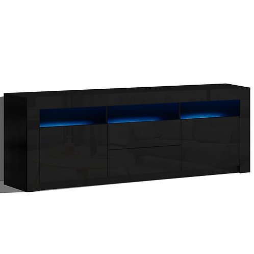 TV Entertainment Unit Stand LED Black High Gloss