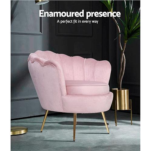 Pink Artiss Retro Lounge Armchair Velvet Shell