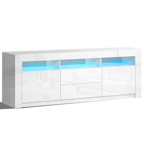 TV Entertainment Unit Stand LED White High Gloss