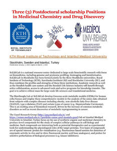 Three post-doc positions in Medicinal Chemistry