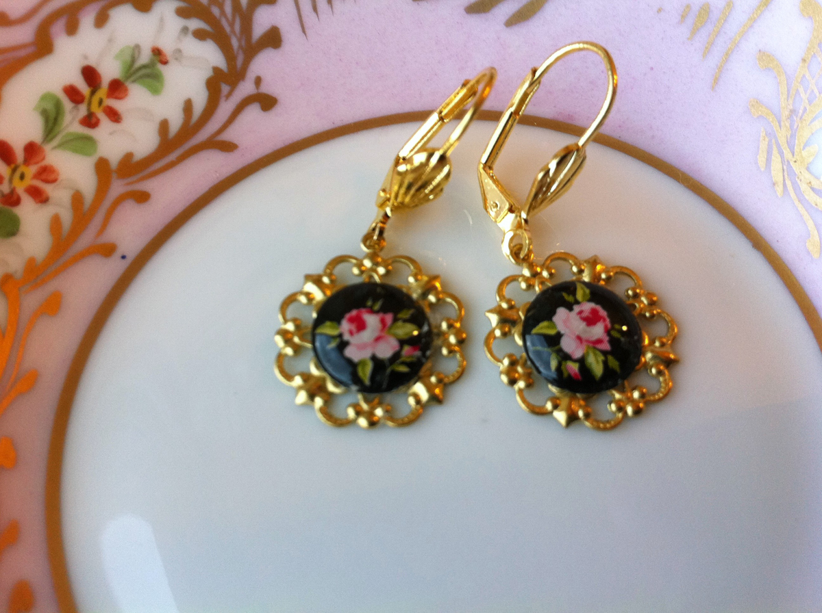 Gold and Black Rose Earrings