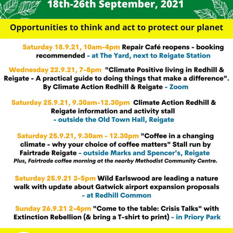 Redhill and Reigate's own GREAT BIG GREEN WEEK starts on 18th September