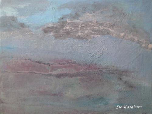果てを行く雲 The world's end  mixed media on canvas