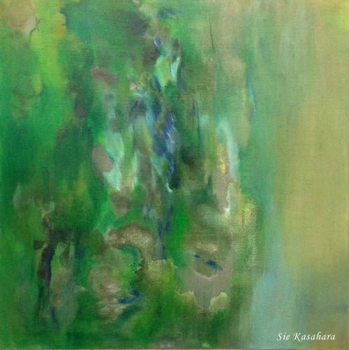 大気が風を散らす The atmosphere dissipates the wind  mixed media on canvas