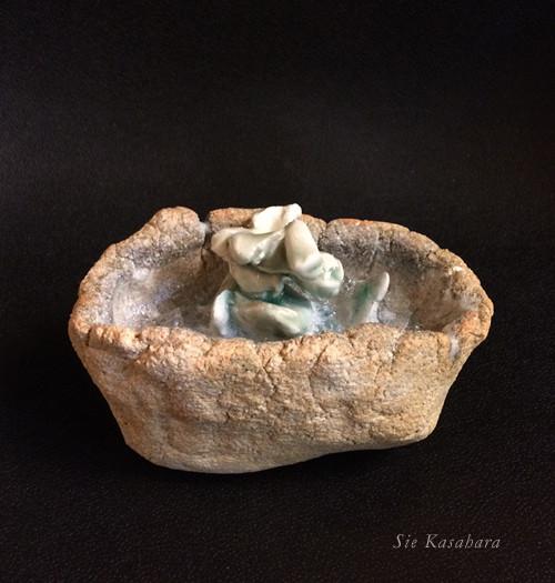 掌の宙(tub)  cramic, glass