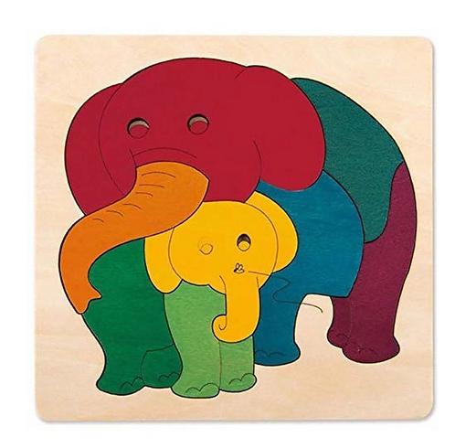 Regenbogen (Elefant /Fisch) Holzpuzzle