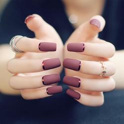 24pcs-set-brown-red-matte-metal-manicure
