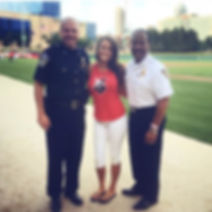 Vanessa Richardson, Troy Riggs and Ernest Malone at the Indianapolis Indians game