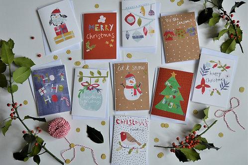 Pack of 10 Christmas Cards, Robin, Penguin, Christmas Tree, Snowman,Wreath