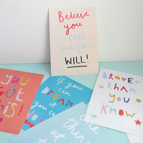 Pack of 5 inspirational positive quote postcards