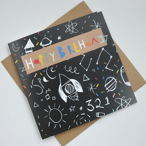 Space rocket Happy Birthday greeting card