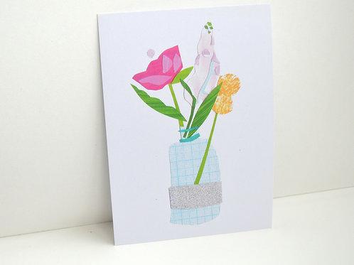 Floral collaged vase a6 blank postcard