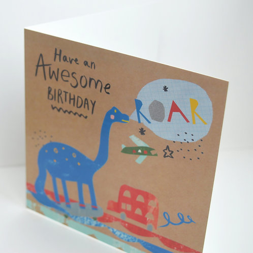 Dino Square awesome birthday card, Roar