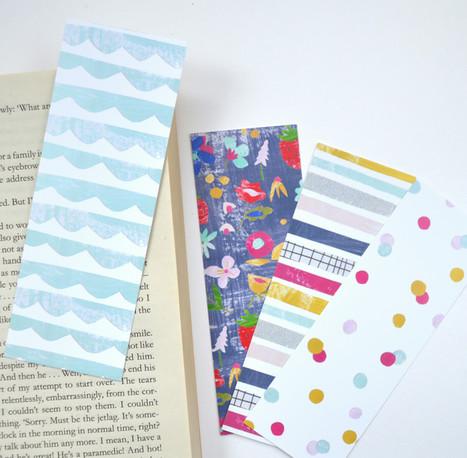 Set of four bookmarks in modern fun patt