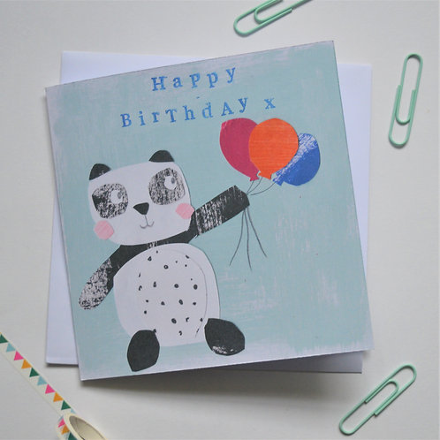 Happy birthday panda greeting card, cute panda and balloons