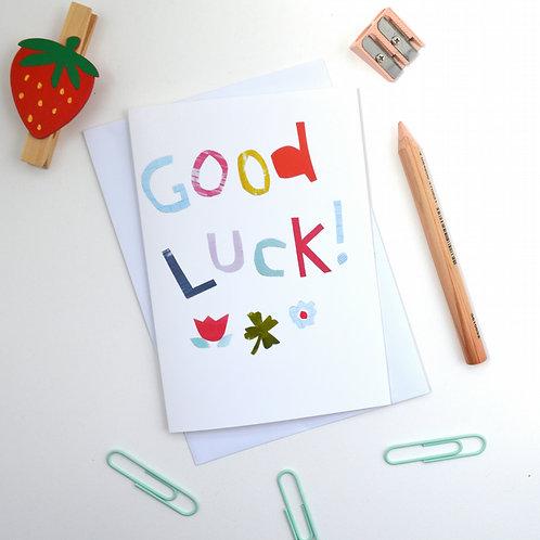 Good luck four leaf clover a6 greeting card