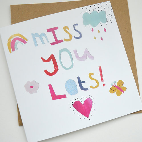 Miss you lots Square greeting card