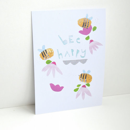 Bee happy a6 blank postcard