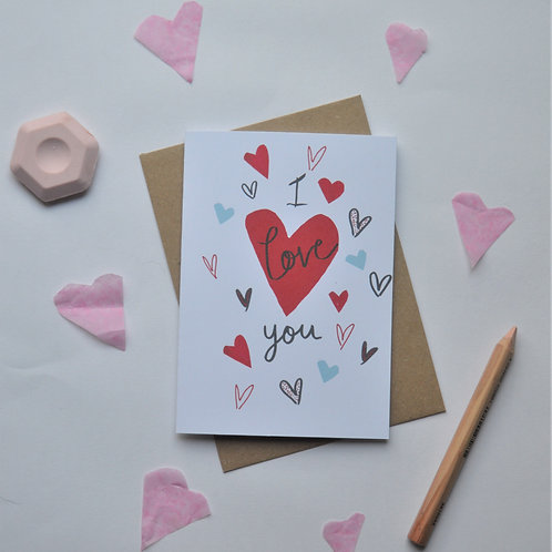 Valentines Day Card I love you, romantic card a6 sized
