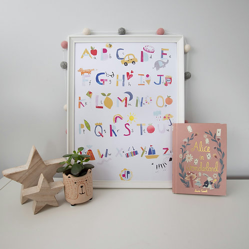 A to Z a3 and a4 alphabet print for kids and babies rooms, Dolly Pepper Studio