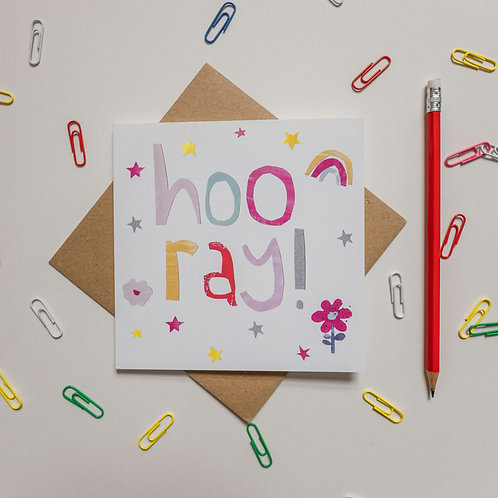 Hooray square greeting card