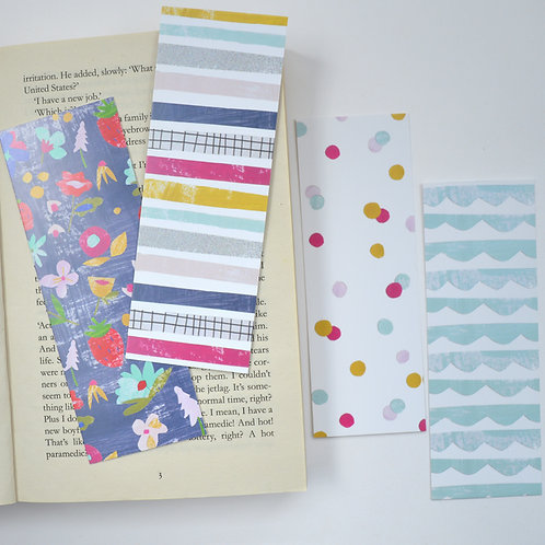 Set of four bookmarks, perfect gift for book lovers, in modern geo prints