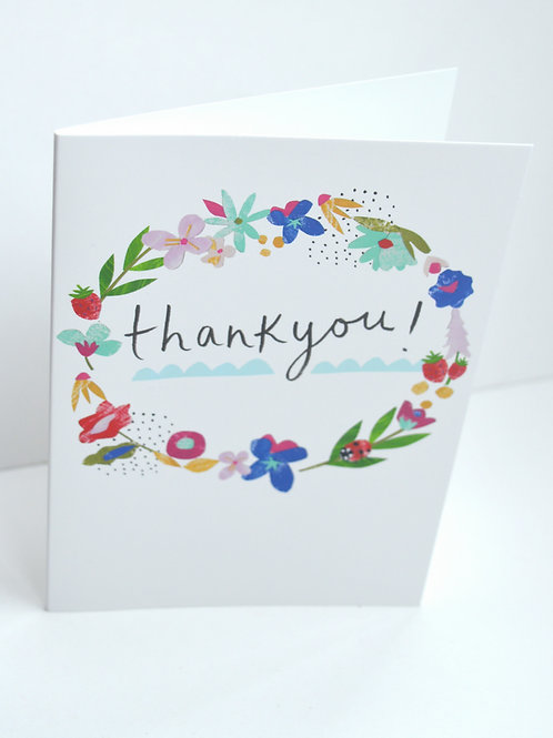 Thank you floral wreath a6 greeting card