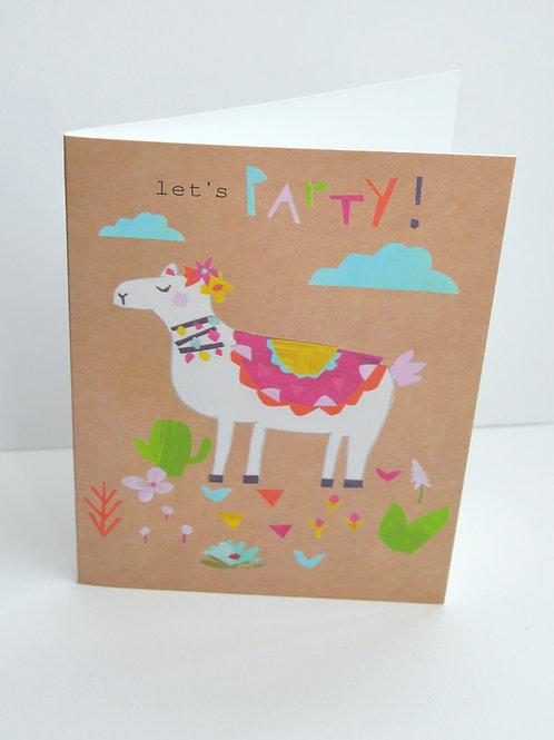 Lets party alpaca llama a6 greeting card