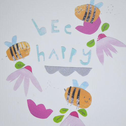 Bee happy square greeting card