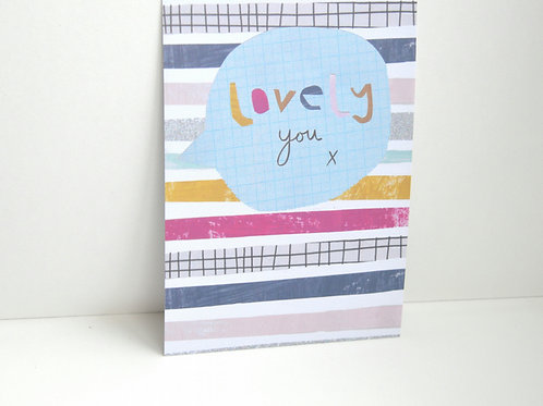 Lovely you a6 blank postcard