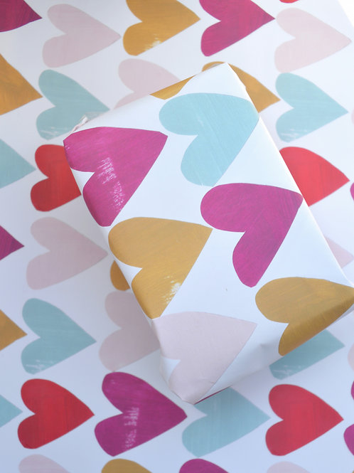 Colourful hearts pattern gift wrap single sheet