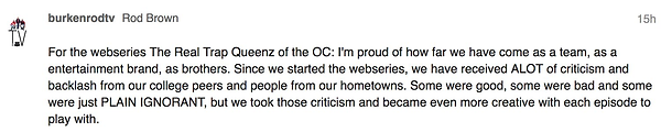 BURKENRODTV RESPONDS TO STAREABLE CRITICISM OF WEBSERIES TRAP QUEENZ OC