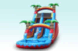 Rent this inflatable tropical water slide for your next summer party! We offer free delivery of this water slide party rental to Pearland, Friendswood, Clear Lake, Webster, League City, Manvel, Pasadena, South Houston, La Porte, Deer Park