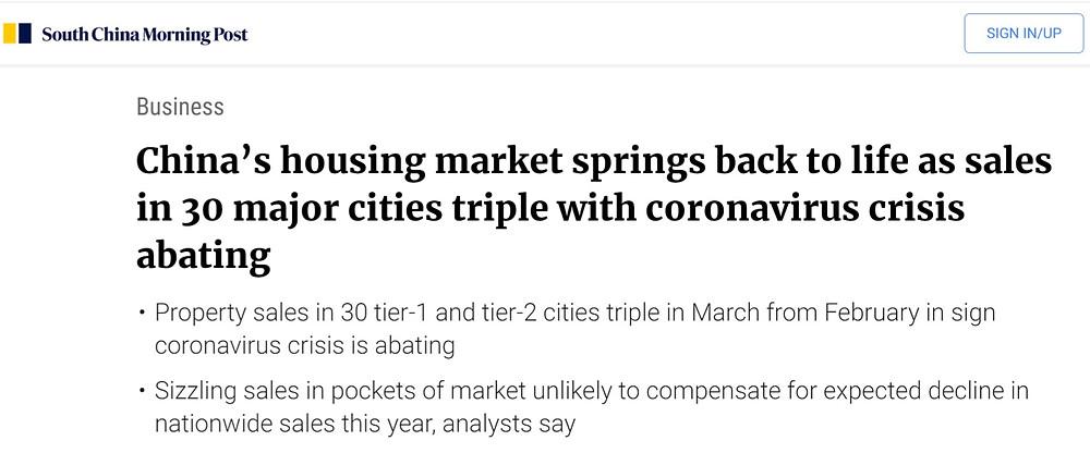 performance of China property market after coronavirus crisis