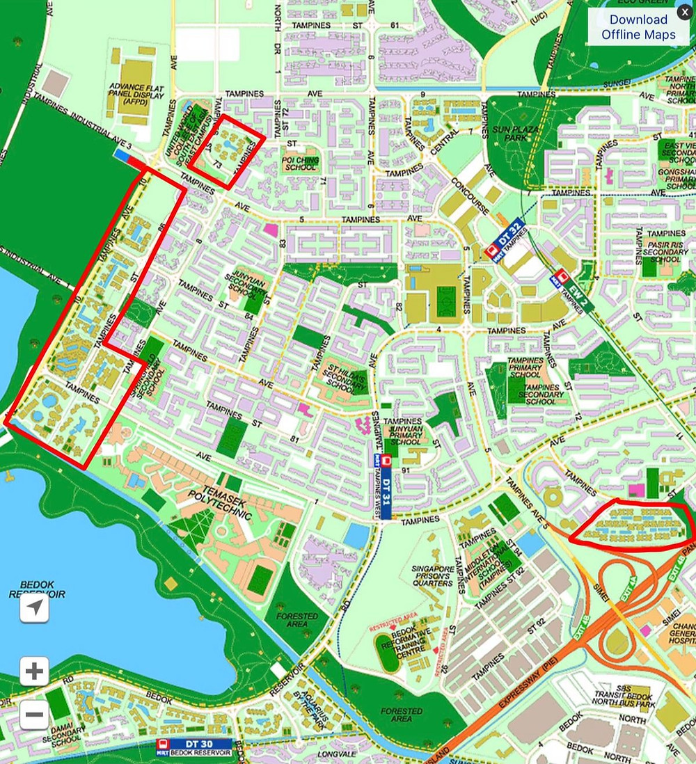 Availability of private residential properties in Tampines for HDB upgraders