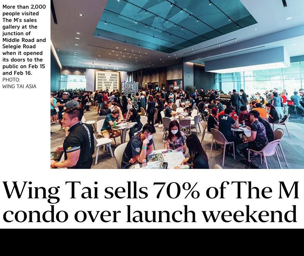 "Wing Tai sells its popular units at The ""M"""