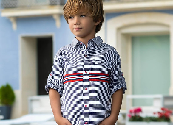 Tutto Piccolo Navy & Red Striped Shirt