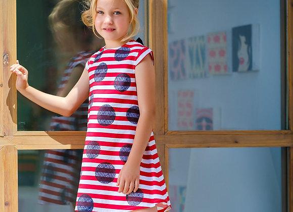 Tutto Piccolo Red Striped Navy Spot Dress