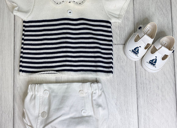 Rochy Baby Boy Cream and Navy Stripe Romper Set