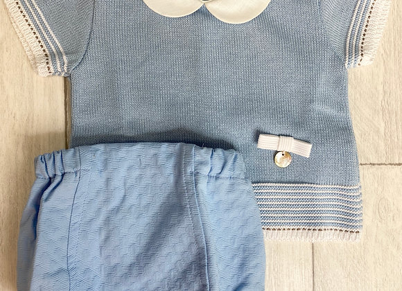 Rochy Baby Boy Blue and Cream Romper Set